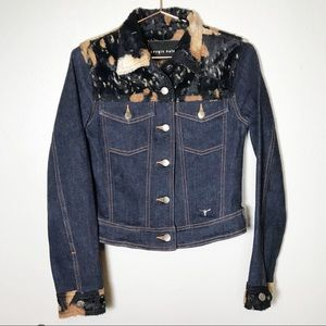 Sergio valente small faux fur denim jacket rare